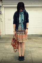 Anthropologie skirt - dvf scarf - H&M top