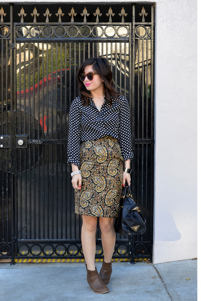 JW Anderson x Topshop skirt - Old Navy boots - polka dot Popbasic shirt