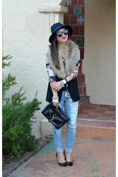 faux fur H&M scarf - ripped Ross jeans - Prabal Gurung x Target shirt