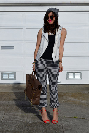 H&M hat - 31 Phillip Lim bag - white Zara vest - stripe Uniqlo pants