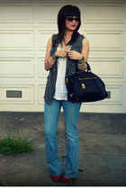 unknown brand vest - Gap jeans - Prada bag - Ruel top - Gap heels