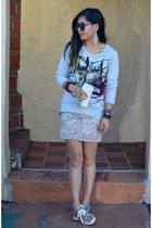 leopard H&M sneakers - Karen Walker sunglasses - sequin H&M skirt