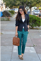 green H&M pants - H&M blazer - coach bag - leopard Steve Madden loafers