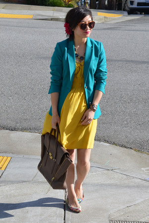 yellow Anthropologie dress - aqua blue H&M blazer - 31 Phillip Lim bag
