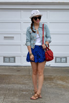 blue Forever 21 skirt - H&M hat - denim H&M jacket - red tory burch bag