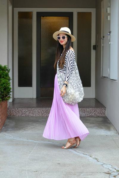 maxi Forever 21 skirt - panama H&M hat - stripes Forever 21 shirt