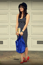 French Connection dress - Reiss hat - baggu bag - Gap heels