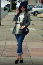 Zara jacket - dress as top f21 dress - American Eagle jeans - Reiss hat