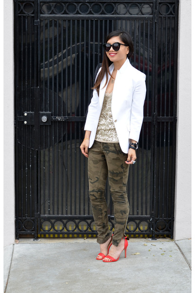camo Zara pants - white Zara blazer - Karen Walker sunglasses