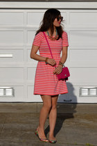 pink Forever 21 dress - coach purse - Karen Walker sunglasses