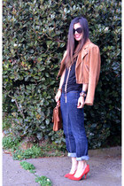 banana republic jeans - suede madewell jacket - vintage coach bag