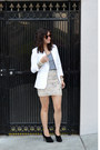 White-zara-blazer-sequin-h-m-skirt-grey-forever-21-t-shirt