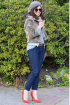 faux fur thirfted jacket - Forever 21 jeans - Karen Walker sunglasses