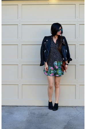 leather H&M jacket - Matiko boots - star print H&M Kids shirt