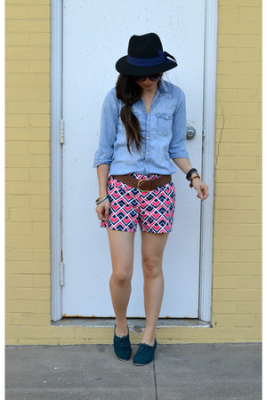 oxfords Forever 21 shoes - Forever 21 hat - H&M Kids shirt - printed Gap shorts