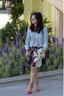 Denim-h-m-jacket-rebecca-minkoff-bag-floral-dvf-shorts-aldo-sunglasses