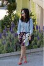 Denim-h-m-jacket-rebecca-minkoff-bag-floral-dvf-shorts-aldo-sunglasses
