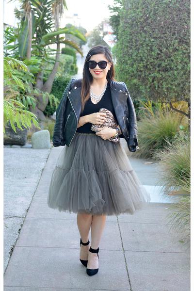 tulle asos skirt - leather H&M jacket - sequin MINUSEY bag - Zara heels