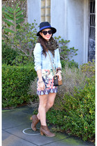 jean H&M jacket - Old Navy boots - Sheinside dress - Forever 21 hat