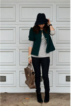 green thrifted jacket - asos boots - as top Amour Vert dress - Forever 21 jeans