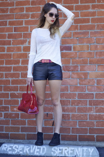 Delvaux bag - leather Reformation shorts - Miu Miu sunglasses