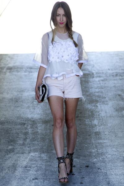 floral Phillip Lim bag - J Brand shorts - carol Isabel Marant sandals