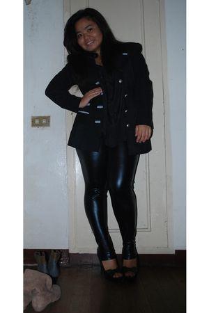 black blazer - black Fetish leggings - black top - black People are People shoes