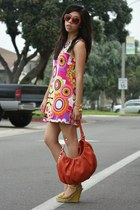 hot pink handmade dress - carrot orange Charles David bag