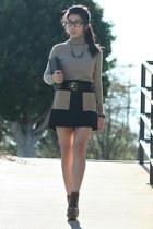 black rachel roy skirt - black firmoo glasses - black Anne Klein belt