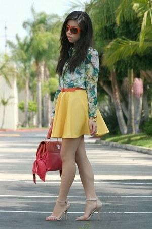 yellow DIY skirt - coral Zac Posen bag - carrot orange dior sunglasses
