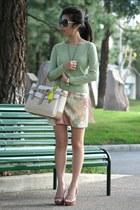 off white Reed Krakoff bag - black Chanel sunglasses - lime green H&M skirt
