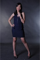 navy blue Pink Manila dress - black So FAB heels