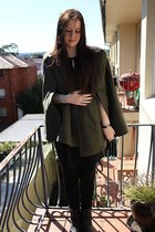 dark khaki khaki wool cape asos cape - black Payless boots