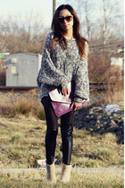 shoplately necklace - Pink & Pepper boots - OASAP leggings - unbranded bag
