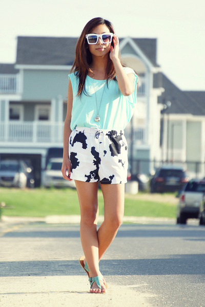 light blue open back Zara blouse - white cow print aupie shorts