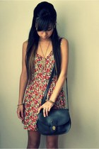 light brown H&M bracelet - red Forever 21 dress - black vintage bag
