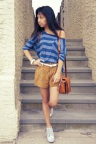 periwinkle Jeffrey Campbell wedges - tawny vintage bag - brown Forever 21 shorts