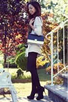 black color block PERSUNMALL bag - black cotton Uniqlo tights