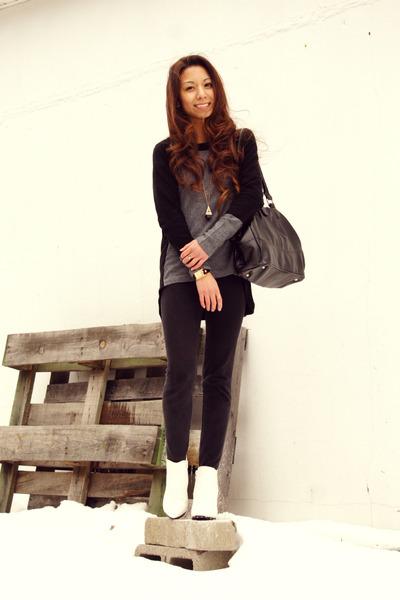black Kas New York sweater - white Tobi boots - black Bandolino bag