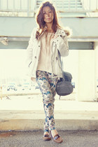 teal madewell pants - ivory H&M jacket - heather gray Zara bag