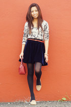 navy OASAP skirt - coach bag - black Uniqlo stockings - beige Aldo flats