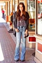 jeans - flats - cardigan