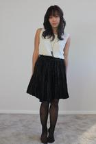 black Via Max skirt - vintage blouse - black  stockings