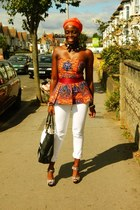african print CJAJ09 top - white denim DKNY jeans - Wallis bag