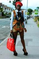 african print CJAJ09 suit - white cotton Zara shirt - thrifted bag