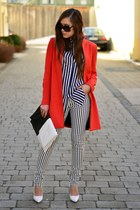 Zara coat - H&M shirt - Glitter bag - Mango wedges - Stradivarius pants