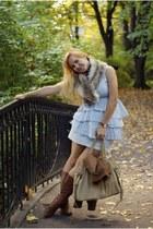 ruffled Mohito dress - fur scarf H&M scarf