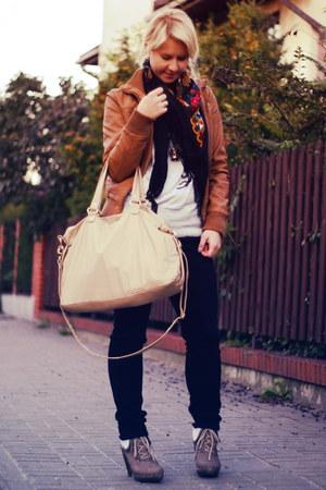 brown no name jacket - beige no name boots - black Levis jeans - beige H&M bag