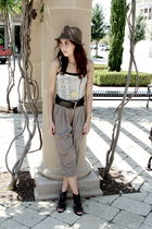 black Jeffrey Campbell shoes - brown Nordstrom hat - white Urban Outfitters top