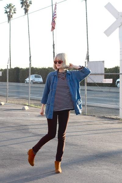 vintage jacket - Aldo boots - vintage shirt - Anthropologie pants